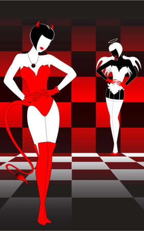 Silhouettes of an angel and devil against a chessboard photo