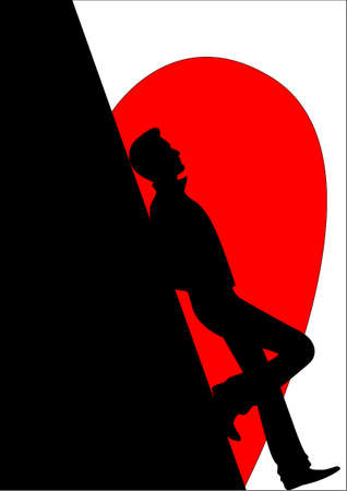 Silhouette of the enamoured man against heart photo