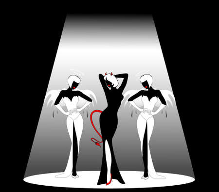 Silhouettes of an angels and devil on a black background