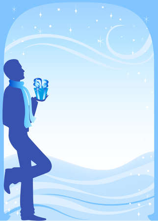 Silhouette of the guy with a gift in New Years evening photo