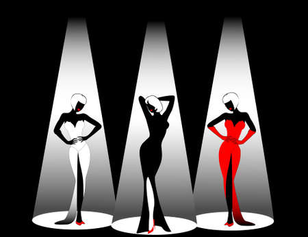 Silhouettes of three beautiful singers on a scene photo