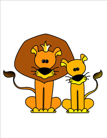 The king a lion with a lioness on a white background photo
