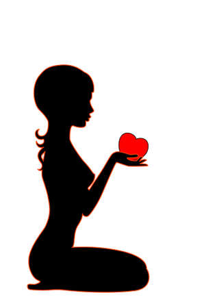 Silhouette of the beautiful girl with heart in hands