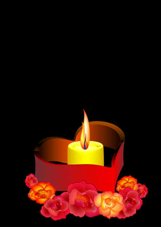 romanticist: Candle in roses on a black background