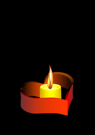 romanticist: Candle on a black background Stock Photo
