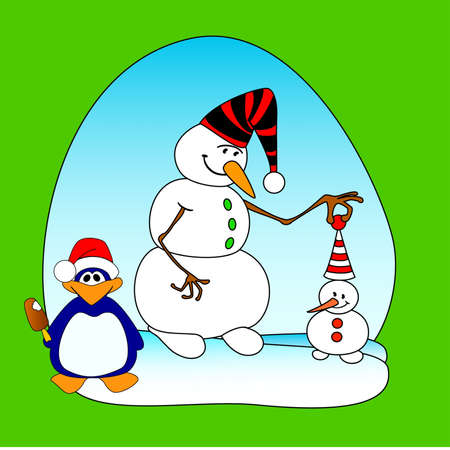 Two smiling snowballs and penguin on a blue background Vector