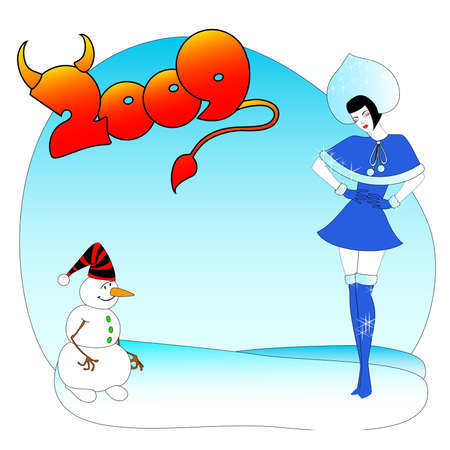 maiden: Beautiful Snow Maiden and comical snowball in 2009 Illustration