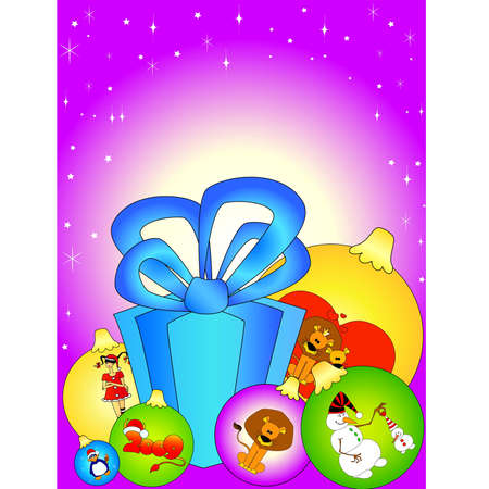 Card with beautiful Christmas gifts Vector