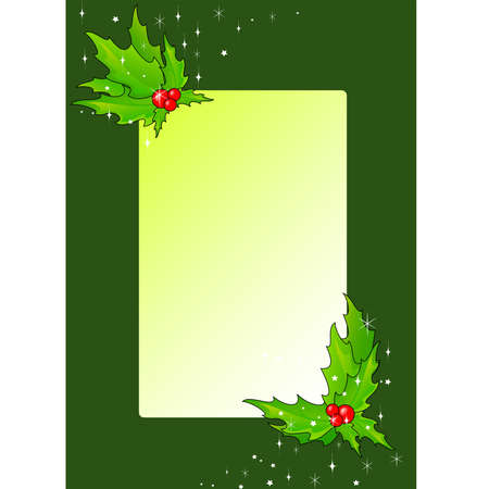 Christmas framework decorated with leaves Vector