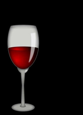 romanticist: Glass with wine on a black background Stock Photo