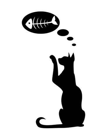 The silhouette of a black cat which dreams of fish