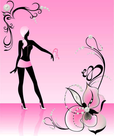 harmonous: Silhouette of the beautiful harmonous girl in glamor clothes