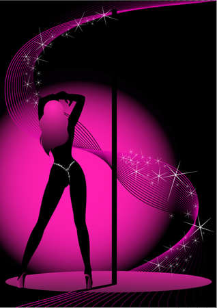sensuality: Beautiful silhouette of young women dancing a striptease Stock Photo