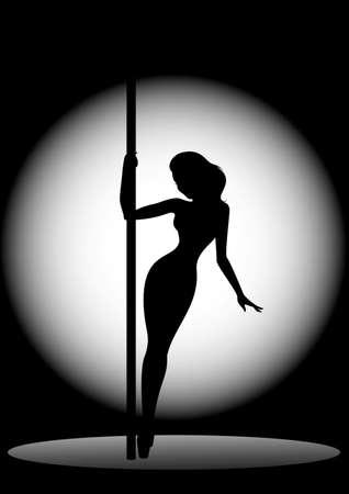 Beautiful silhouette of young women dancing a striptease photo