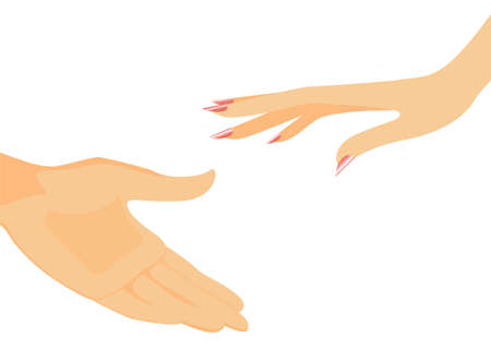 reaches: The female hand reaches for a mans hand
