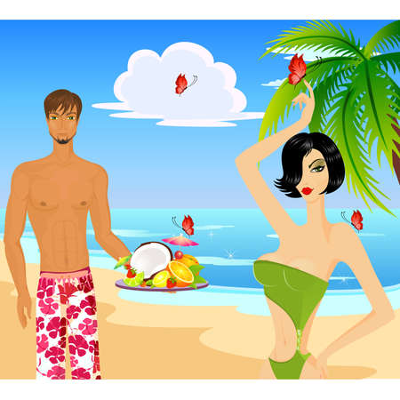 Beautiful young the man in shorts with Fruits cocktails with fruits and woman Vector