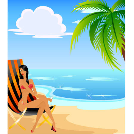 calm woman: Beautiful young girls on the summer beach Illustration