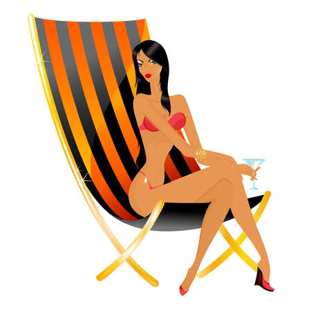 The beautiful young woman in a bathing suit in a beach armchair Векторная Иллюстрация