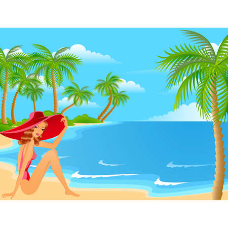 sexuality: Beautiful young girls on the summer beach Illustration