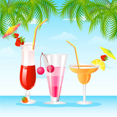 Caribbean sea: Tropical Martini Glass - Isolated on Orange Background