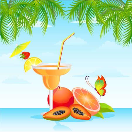 Tropical Martini Glass - Isolated on Orange Background
