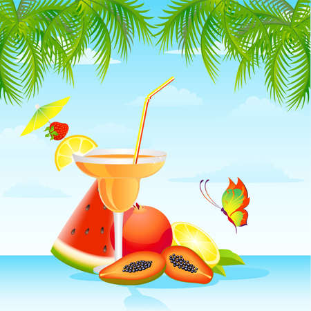 inviting: Tropical Glass of Martini - Isolated on Background