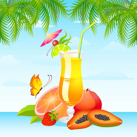 Tropical Glass of Martini - Isolated on Background Vector