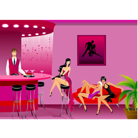 womanly: Beautiful girls and man in cafe