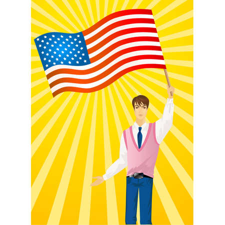 Patriotic happy man waving flags and smiling Vector