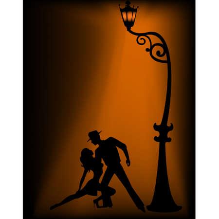 Pair dancing a tango Vector