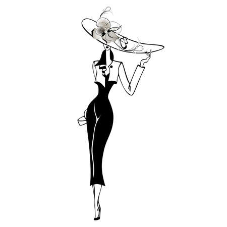 hat with feather: The beautiful woman in a hat Illustration
