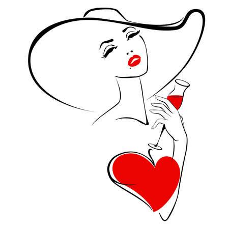 De mooie vrouw in een hoed met een glas wijn Vector Illustratie