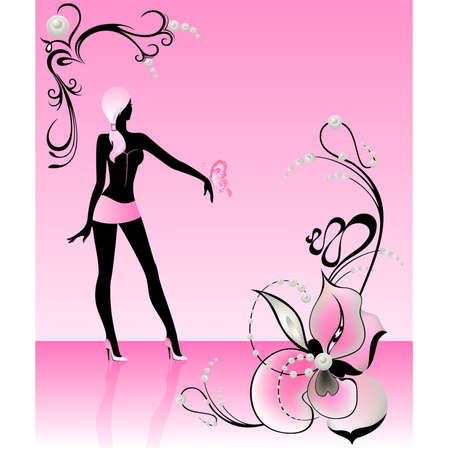 harmonous: Silhouette of the beautiful harmonous girl in glamour clothes Illustration