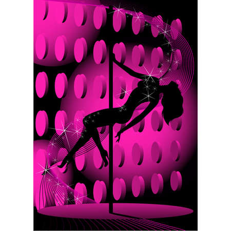 Beautiful silhouette of young women dancing a striptease Vector