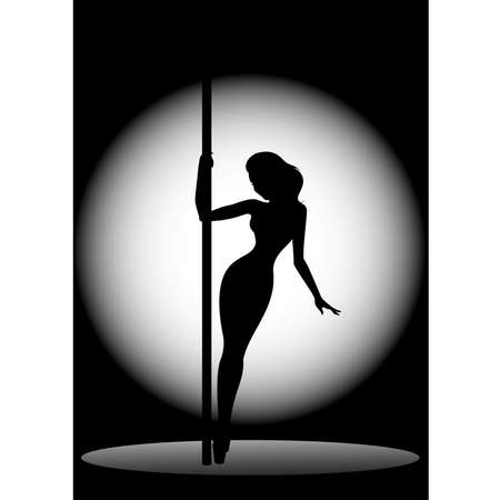 Beautiful silhouette of young women dancing a striptease Vector