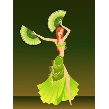 The beautiful young girl dances east dance Vector