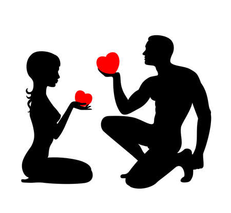 Silhouettes of lovers which give the hearts each other