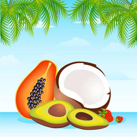 canasta de frutas: Cesta de estacionales frutas tropicales variados