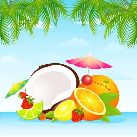 Seasonal varied tropical fruit basket Vector
