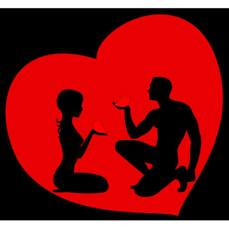 asterisks: The beautiful man gives the heart to the woman Illustration
