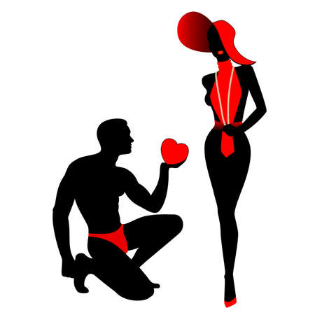 sexuality: The beautiful man gives the heart to the woman Illustration