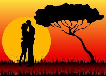 lifestile: Silhouettes of two lovers against a decline in a safari Stock Photo