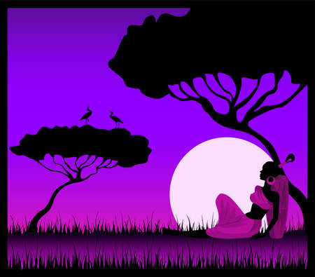 female sexuality: Silhouettes of the harmonous girl against a decline in a safari