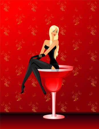 The beautiful harmonous sexy girl sits in a glass with a cocktail photo