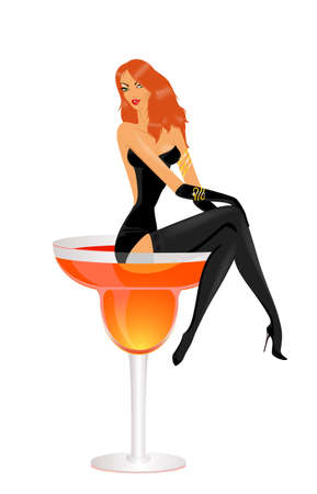 harmonous: The beautiful harmonous sexy girl sits in a glass with a cocktail