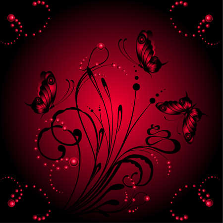 Abstract floral background with butterflies for design Vector