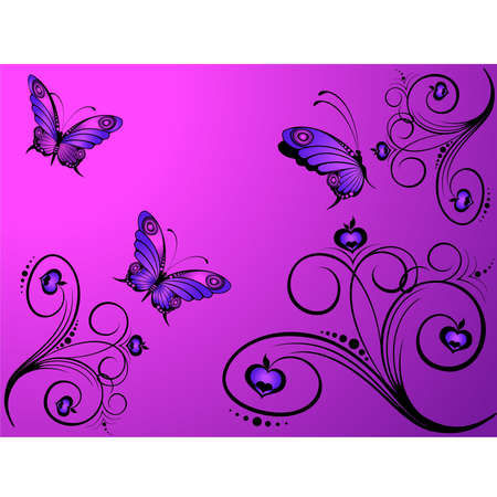 Abstract floral background with butterflies for design Stock Vector - 5578031