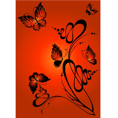 Abstract floral background with butterflies for design Stock Vector - 5578096