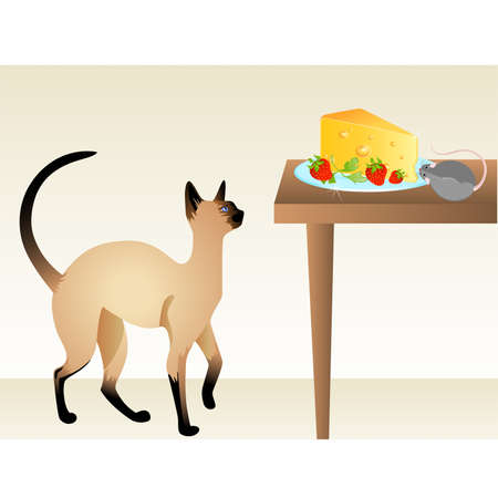inducement: The cat watches the mouse which eats cheese on a table