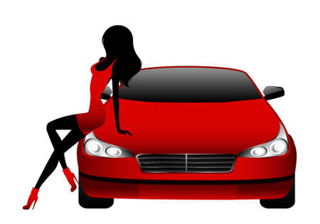 Silhouette of beautiful glamour girl sitting by the red car Stock Photo - 5622407